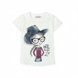 Boboli 405032-1111 Bluzka dziewczęca z nadrukiem kolor krem