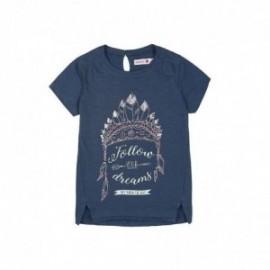 Boboli 405098-BLUE Bluzka dziewczęca z nadrukiem kolor granat