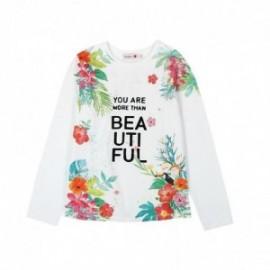 Boboli 415000-1100 Bluzka dziewczęca z nadrukiem kolor biały