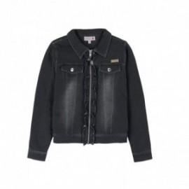 Boboli 495075-BLACK Kurtka dziewczęca z bawełny z kołnierzykiem kolor czarny