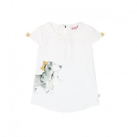 73d8574eb2 Boboli 725262-1100 Bluzka dla dziewczynki z nadrukiem i kokardkami kolor  biały