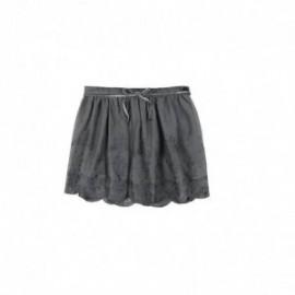 Boboli 725329-8085 Spódnica dziewczęca z paseczkiem haftowana kolor grafit