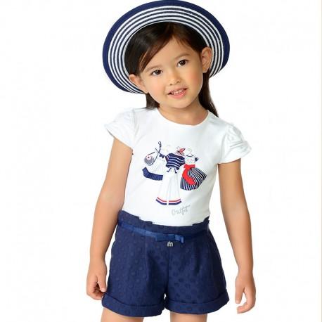 Mayoral 3002-22 Koszulka dziewczęca krótki rękaw Granatowy