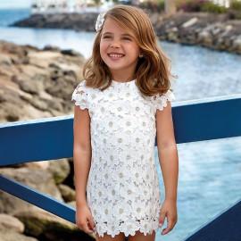 Mayoral 3928-60 Sukienka dziewczęca koronkowa kolor Kremowy
