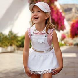 Mayoral 3600-39 Spódniczka ogrodniczka dziewczęca kolor Biały