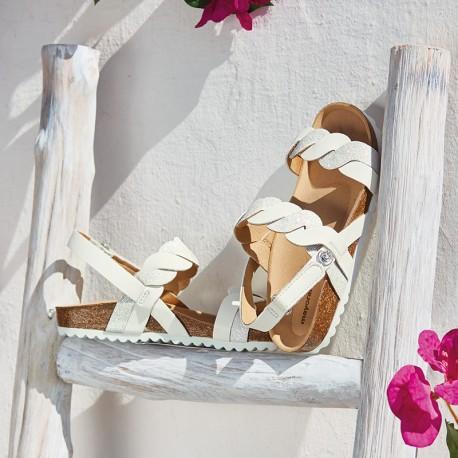Mayoral 43899-11 Sandałki dziewczęce na korku kolor biały