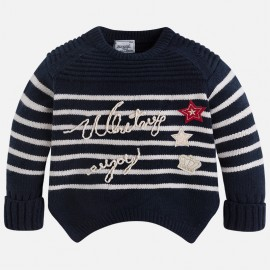 Mayoral 4317-69 Sweter dziewczęcy w paski kolor granat