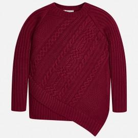 Mayoral 7313-28 Sweter dziewczęcy asymetryczny kolor bordo