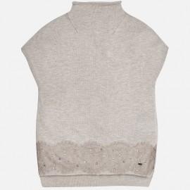 Mayoral 7325-83 Kamizelka sweter z koronką kolor szary