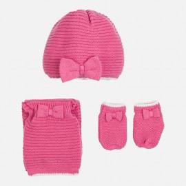 Mayoral 9605-37 Czapka szalik i rękawiczki kolor Róż