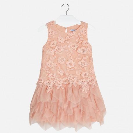 Mayoral 6938-19 Sukienka dziewczęca haftowana kolor Nude