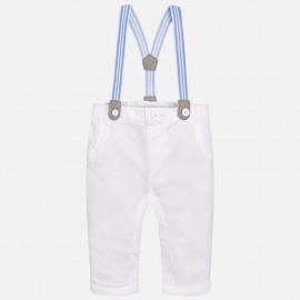 Mayoral 1516-66 Spodnie chłopięce długie z szelkami kolor biały