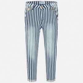 Mayoral 6512-3 Spodnie dziewczęce długie paski jeans kolor granat