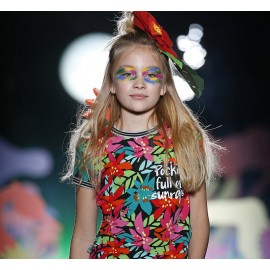 Boboli 415099-9743 Bluzka dla dziewczynki z nadrukiem kolor fuksja