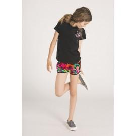 Boboli 415055-890 Bluzka dziewczęca z nadrukiem i cekinami kolor czarny