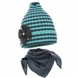 Pupil komplet czapka i chustka dziewczęca Doda kolor turkus