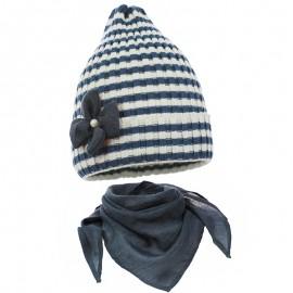 Pupil komplet czapka i chustka dziewczęca Doda kolor biały