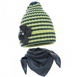 Pupil komplet czapka i chustka dziewczęca Doda kolor limonka