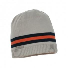Pupil czapka chłopięca Caro kolor szary/pomarańcz