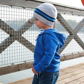 Pupil czapka chłopięca Caro kolor szary/niebieski