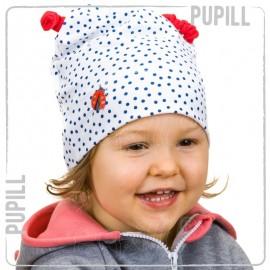 Pupil czapka dziewczęca Ladybug kolor biały/granat