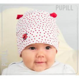 Pupil czapka dziewczęca Ladybug kolor biały/czerwony
