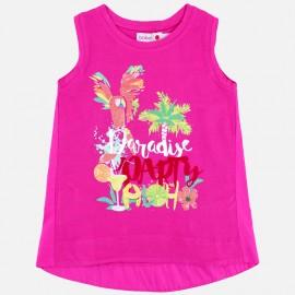 Boboli 415112-3570 Koszulka dla dziewczynki z nadrukiem kolor guma balonowa