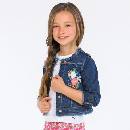Mayoral 3416-82 Kurtka dziewczęca jeans z haftem kolor granat