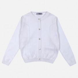 Dr.Kid DK456-000 sweterek dziewczęcy zapinany kolor biały