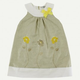 Dr.Kid DK461-320 sukienka dziewczęca elegancka kolor len