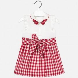 Mayoral 3966-76 Sukienka dziewczęca z haftem i konierzykiem kolor czerwony