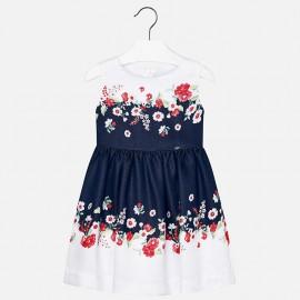 Mayoral 3974-36 Sukienka dziewczęca z lamówką kwiat kolor granat