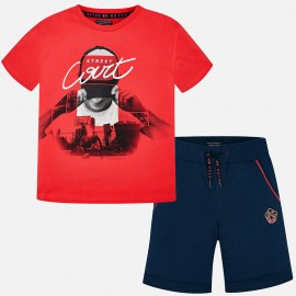 Mayoral 6608-85 Komplet chłopięcy koszulka i bermudy kolor czerwony