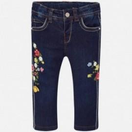 Mayoral 1524-46 Spodnie dziewczęce jeans z haftem kolor granat