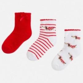 Mayoral 10400-92 Skarpetki dziewczęce kolor biały/czerwony