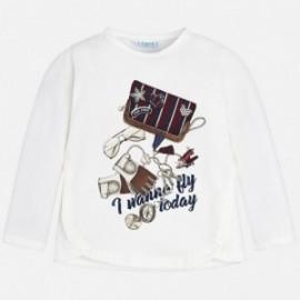 Mayoral 4056-22 Koszulka dziewczęca kolor biały