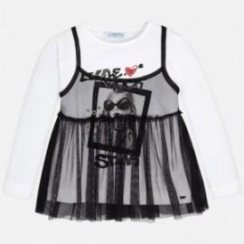 Mayoral 4052-38 Koszulka dziewczęca kolor biały/czarny