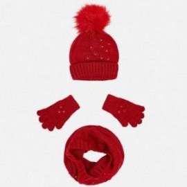 Mayoral 10506-10 Komplet dziewczęcy czapka szalik kolor czerwony