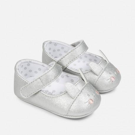 Mayoral 9808-18 Buciki niemowlęce dla dziewczynki kolor srebrny