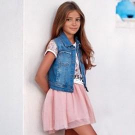 Mayoral 6406-71 Kamizelka dziewczęca jeans z cekinami kolor niebieski