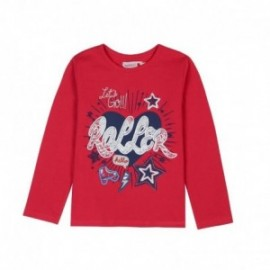 Boboli 406044-3591 koszulka dla dziewczynki kolor szkarłat