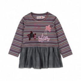 Boboli 206121-8088 sukienka w paski dla dziewczynki kolor ciemno szary