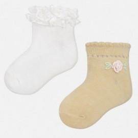 Mayoral 10347-29 Skarpetki dla dziewczynki kolor biały/żółty