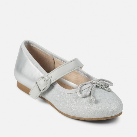 Mayoral 45867-81 Buciki baleriny dla dziewczynki kolor srebrny