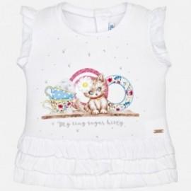 Mayoral 1016-68 Koszulka dziewczęca z falbankami kolor biały