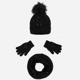 Mayoral 10506-16 Komplet dziewczęcy czapka szalik kolor czarny