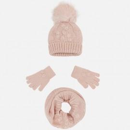 Mayoral 10506-14 Komplet dziewczęcy czapka szalik kolor nude