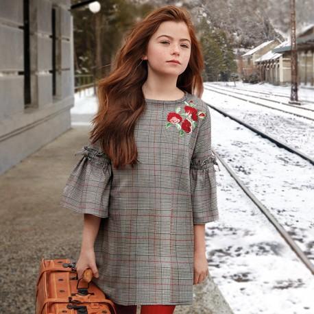 Mayoral 7936-55 Sukienka dziewczęca w kratę kolor szary/czerwony