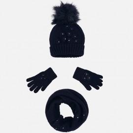 Mayoral 10506-12 Komplet dziewczęcy czapka szalik kolor granat