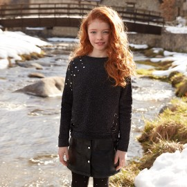 Mayoral 7444-5 bluza dziewczęca kolor czarny